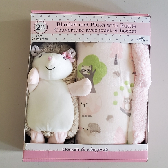 Blankets & Beyond 2pc Planket and Plush w/Rattle